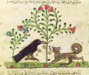 Fabel vom Fuchs und Raben in einer arabischen Illustration